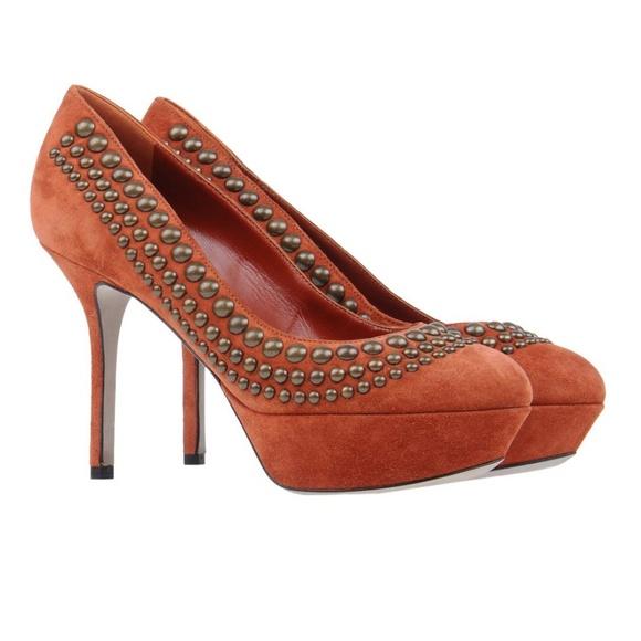 4975bf816a12 NIB Sergio Rossi suede metal embellished heels